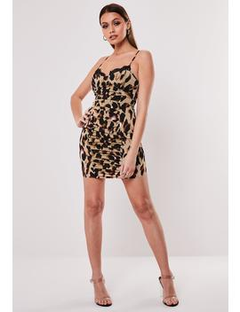 tan-leopard-ruched-cami-mini-dress by missguided