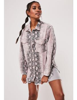 Pink Snake Print Co Ord Oversized Denim Shirt by Missguided
