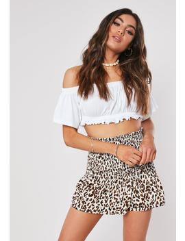 Brown Animal Print Shirred Cotton Mini Skirt by Missguided