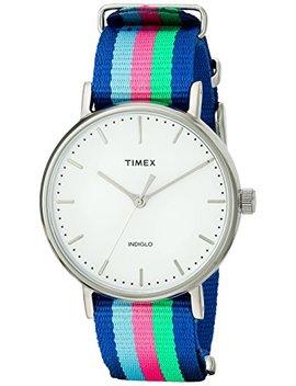 Timex Women's Tw2 P91700 Fairfield 37 Blue/Pink/Green Nylon Slip Thru Strap Watch by Timex
