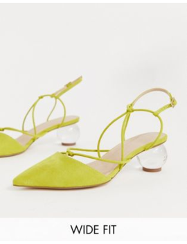 Asos Design Wide Fit Sunset Knotted Ball Heels In Chartreuse by Asos Design