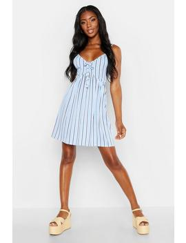 Stripe Tie Front Strappy Sundress by Boohoo