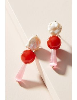 Pearl + Carnelian Drop Earrings by Anthropologie