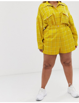Asos Design Curve Yellow Check Suit Shorts by Asos Design