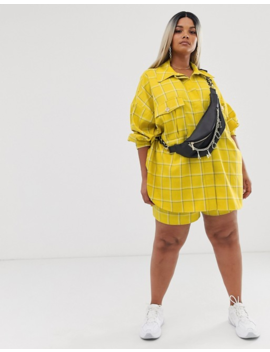 Asos Design Curve Yellow Check Suit Shacket by Asos Design
