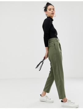 Asos Design Double Belt &Amp; Hardware Tapered Pants by Asos Design