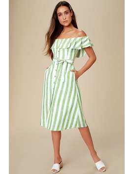 sunny-days-green-striped-off-the-shoulder-midi-dress by lulus