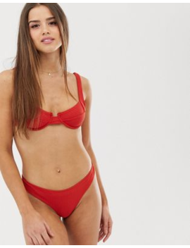 Pull&Amp;Bear Pacific Ribbed Bikini Top With Underwiring In Rust by Pull&Bear