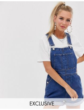 Reclaimed Vintage Inspired Short Dungaree In Mid Blue by Reclaimed Vintage