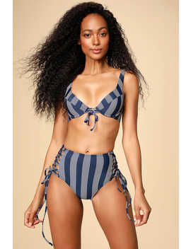 Long Lines Navy Blue Striped High Waisted Lace Up Bikini Bottoms by Splendid