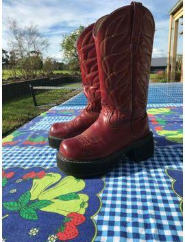 Womens John Fluevog Western Cowgirl Leather Red Flame Platform Boots Retro by John Fluevog
