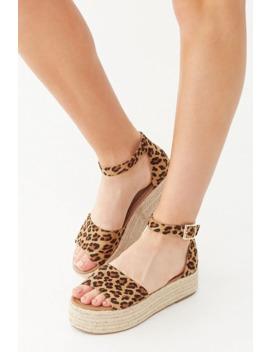 Leopard Print Flatform Espadrille Sandals by Forever 21