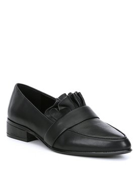 Ninata Leather Ruffle Block Heel Loafers by Antonio Melani