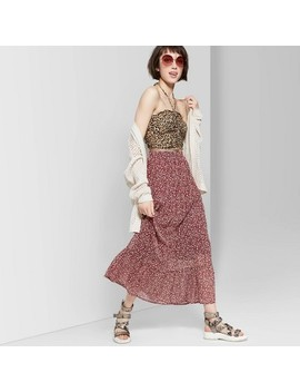 Women's Floral Print Tiered Maxi Skirt   Wild Fable Burgundy by Wild Fable Burgundy