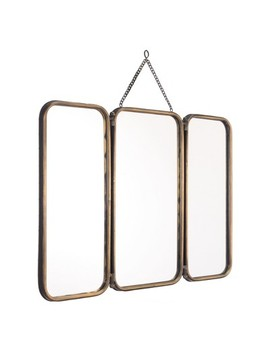 """Zm Home 20"""" Modern Industrial 3 Panel Mirror Gold by Panel Mirror Gold"""