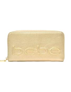 Bebe Gold Logo Zip Around Wallet New In Box Nib by Bebe