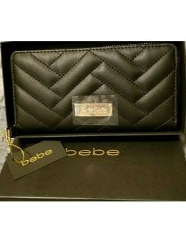Bebe Logo Zip Around Black Quilted Logo Fashion Wallet New In Gift Box by Bebe