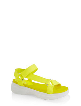 Asymmetrical Strap Sporty Platform Sandals by Rainbow