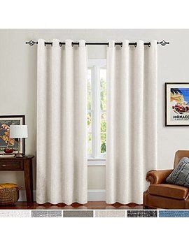 Cotton Linen Window Curtains For Kitchen Curtain For Bedroom Living Room 95 Inch Long Grommet 2 Panels Off White by Jinchan