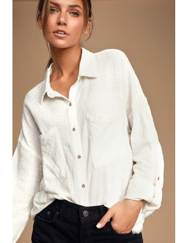 Tabbatha White Long Sleeve Button Up Top by Lulus