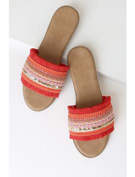 Raina Red Multi Beaded Slide Sandals by Lulu's
