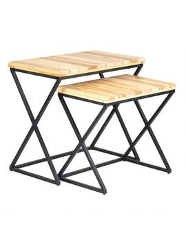 Teak Wood And Iron Nesting Tables Set Of 2 by World Market