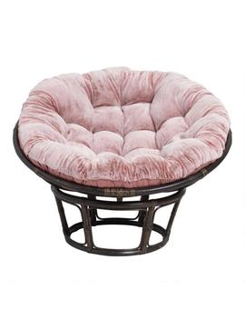 Dusty Rose Faux Fur Papasan Chair Cushion by World Market