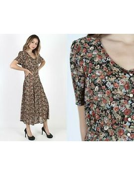 Vintage 90s Sheer Floral Dress Secretary Grunge Calico Boho Festival Party Maxi by Unbranded