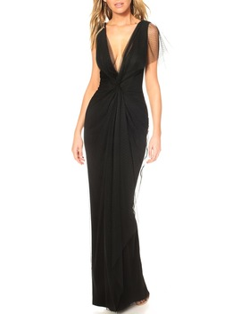 Olivia Plunge Neck Gown by Katie May