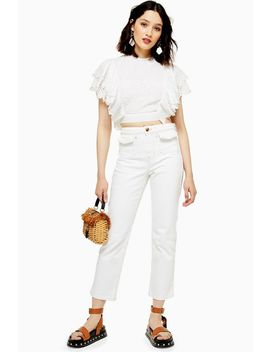 White Pocket Straight Leg Jeans by Topshop