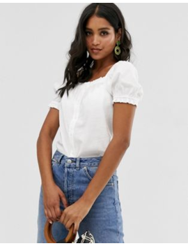 Warehouse Square Neck Top In Stone by Warehouse