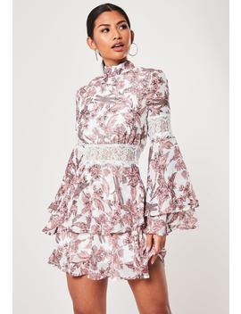 White Frill High Neck Floral Mini Dress by Missguided
