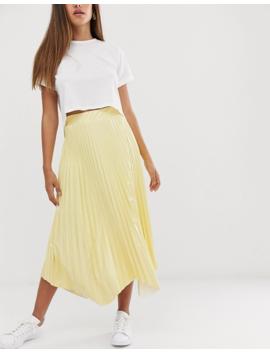 Asos Design Pleated Midi Skirt In Vinyl With Waved Hem by Asos Design
