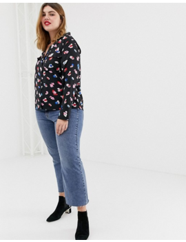 Influence Plus Pyjama Shirt With Pockets In Spoldge Print by Plus Size Top