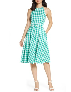 Halter Neck Gingham Fit & Flare Dress by Eliza J