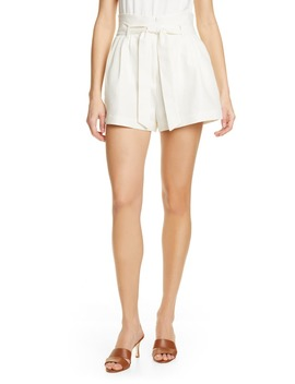 Belted Linen & Cotton Shorts by Frame