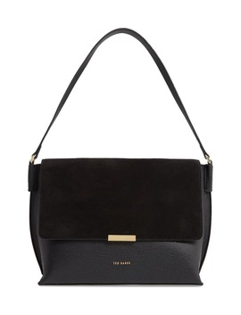 Louissa Bar Detail Suede & Leather Shoulder Bag by Ted Baker London