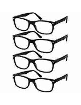 Reading Glasses Set Of 4 Black Quality Readers Spring Hinge Glasses For Reading For Men And Women by Success Eyewear