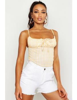 Gingham Gathered Front Cami by Boohoo
