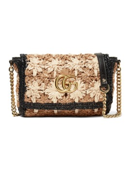 Gg Marmont Leather Trimmed Raffia Shoulder Bag by Gucci