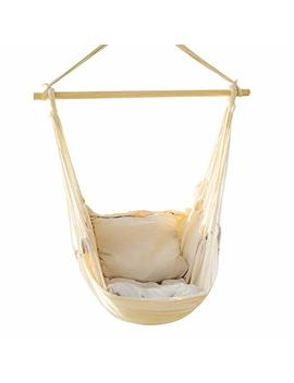 Ever King Hanging Rope Hammock Chair Porch Swing Seat, Large Hammock Net Chair Swing, Cotton Rope Porch Chair For Indoor, Outdoor, Garden, Patio, Porch, Yard   2 Seat Cushions Included (White) by E Everking