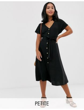 New Look Petite Button Down Midi Dress In Black by New Look