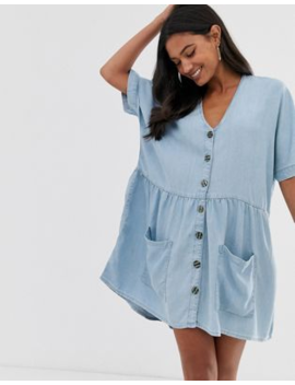 River Island Smock Dress With Button Through In Chambray by River Island