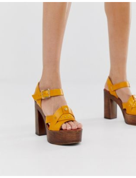 River Island Platform Heeled Sandals In Yellow by River Island