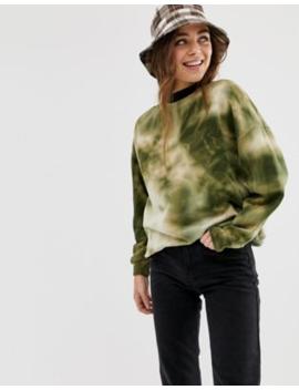 Pull&Amp;Bear Sweatshirt In Green Tie Dye by Pull&Bear