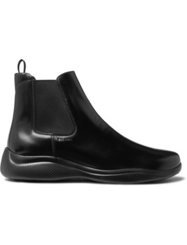 Spazzolato Leather Chelsea Boots by Prada