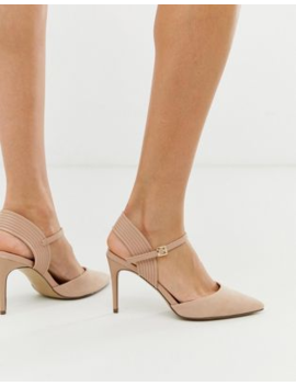New Look   Nude Schoenen Met Hak En Geribbeld Detail by New Look