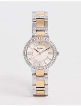 Fossil Es3405 Virginia Watch In Rose Gold Mixed Metal by Fossil