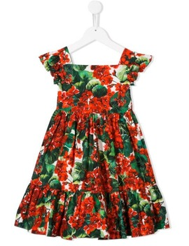 Floral Print Tiered Dress by Dolce & Gabbana Kids
