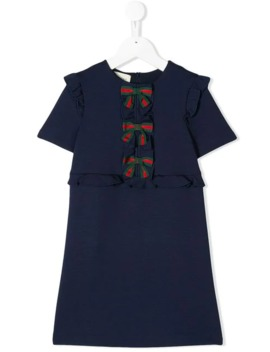 Web Bow Front Dress by Gucci Kids